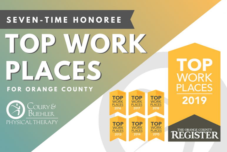 TOP WORKPLACES AWARD 2019 FOR COURY & BUEHLER PHYSICAL THERAPY